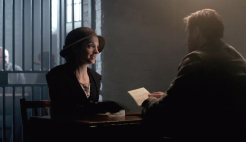 Anna gives Bates a list of names she found while cleaning out his and Vera's apartment.