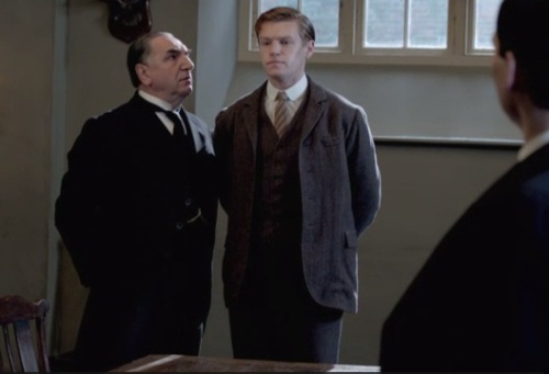 Carson, upset O'Brien bypassed him to get her nephew hired as footman, declares Alfred is too tall for the position.