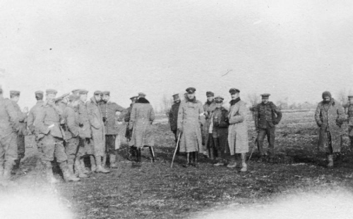 British and German troops meeting in No Man's Land, Christmas 1914.